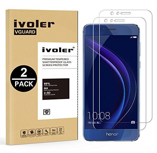 iVoler [2 Pack] Pellicola Vetro Temperato per Huawei Honor 8 [Garanzia a Vita], Pellicola Protettiva Protezione per Schermo per Huawei Honor 8