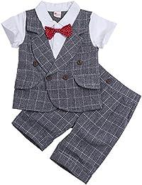 iiniim 2Pcs Traje de Boda Bebe-Niños 2-5 Años Camisetas + Chaleco +Pantalones Tartán