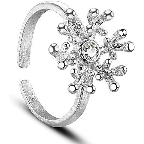Sweetiee Donna Argento Sterling 925con coda anello con corallo fiore argento 16mm