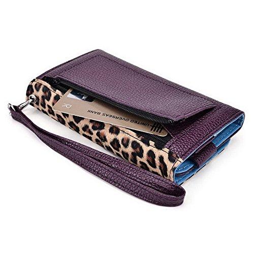 Kroo Pochette Téléphone universel Femme Portefeuille en cuir PU avec dragonne compatible avec Huawei Ascend Y530 Multicolore - Emerald Leopard Multicolore - Violet/motif léopard