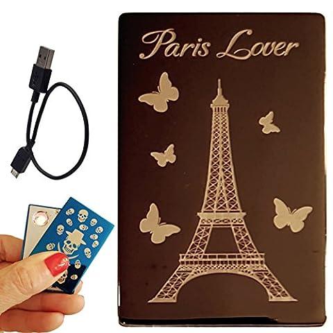 Coffret Briquet électronique USB rechargeable par câble USB (Tour Eiffel BK)