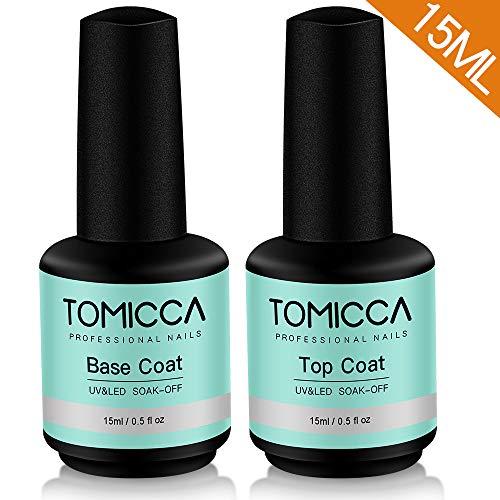 TOMICCA Top Coat und Base Coat, 2x15ml UV LED Gel Nagellack Base und Top Coat Maniküre Set, UV Nagellack Unterlack und Überlack