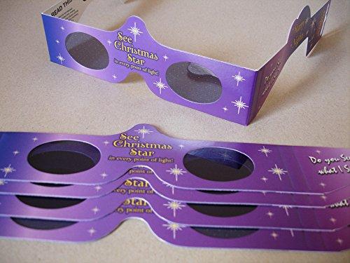 5 Stück HoloSpex 3D Brille Christmas Star, Weihnachtsstern, Weihnachten (Happy Eyes, Holiday Specs) / Weihnachtsbrille, Effektbrille, Partybrille, Spaßbrille
