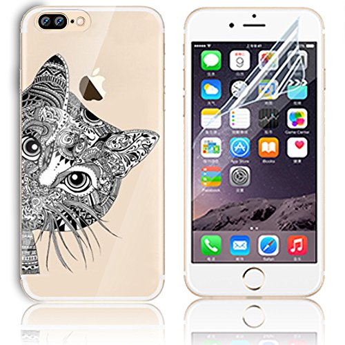 Coque iPhone 8 Plus, Etui iPhone 8 Plus Transparent Etui Housse de Protection TPU Silicone Gel Souple Clair Crystal Case Cover Sunroyal Ultra Mince Premium Telephone Portable Skin Hybrid Clear Bumper  Motif 18