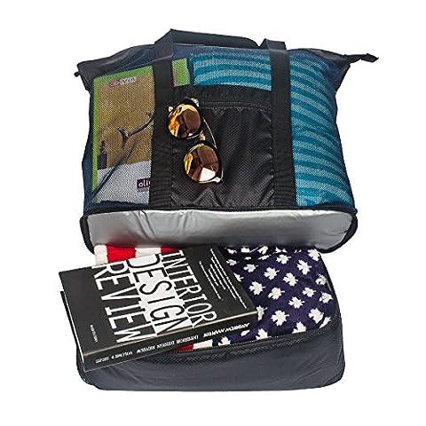 Fency Beach Tasche Mesh 2-in-1-Tote Trinken Kühler Familie Schulter Handtasche Reißverschluss schwarz