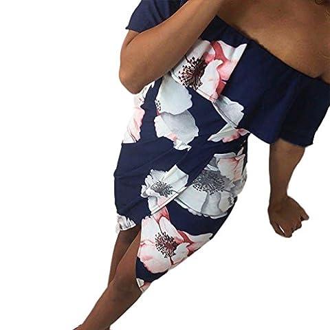 Bluestercool Femmes Robe imprimée pour plage de vacances d'été Sexy Robes (L, Bleu foncé)