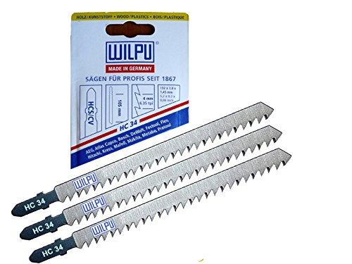 3St T-Schaft HC34 Holz Stichsägeblätter 100/130 mm lang auch für Trenn-Biber als Laminat Schneider geeignet