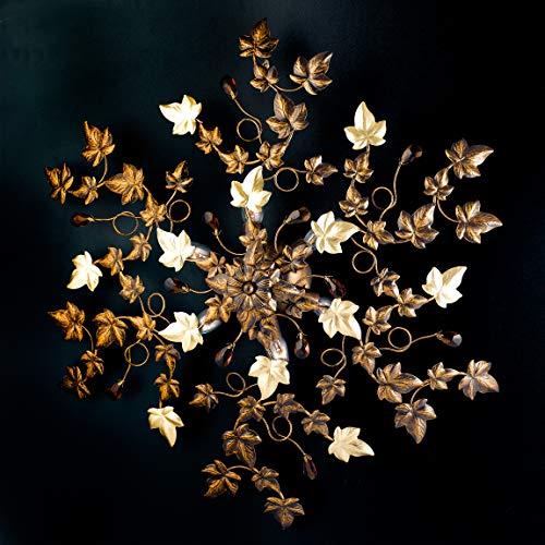 Klassische Deckenleuchte aus Schmiedeeisen mit Blättern und Kristallen 6 Lichtern Braun und Gold Serie Edera Bonetti -
