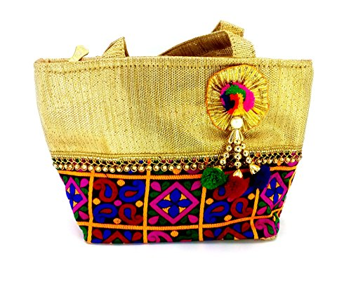 Magnas Golden Checked Ethnic & Traditional Hand Bag Golden Wallet Golden Batwa Golden Clutch