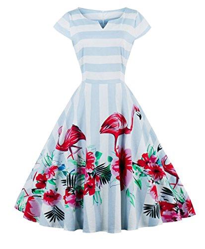 Fairy Couple, DRT019, Vestito da donna, stile anni '50, stile retrò, a pois, gonna gonfia fenicottero L