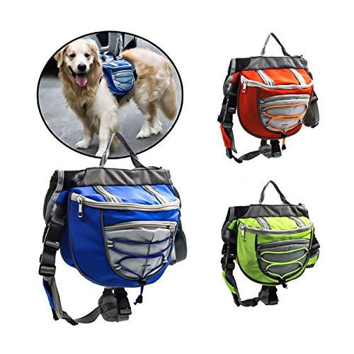 Polyester Hund Satteltaschen Rucksack Satteltasche für Reisen Camping Wandern (Color : Green, Size : L)