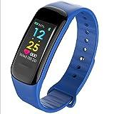 Smart Armband Herzfrequenz-Blutdruckmessgerät Bluetooth Schrittzähler Wasserdicht Sport Armband,Blue