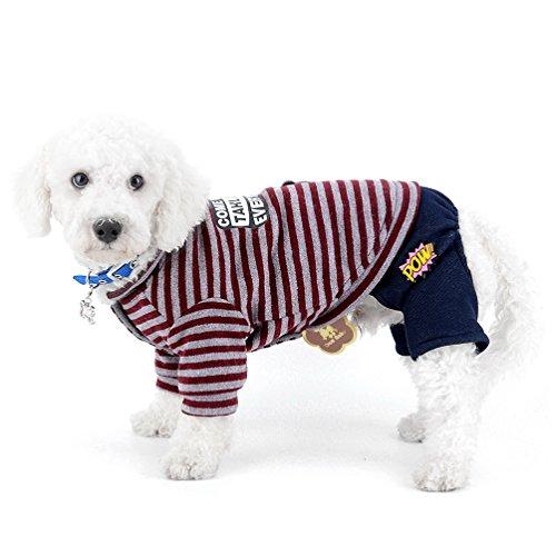 selmai Puppy Schneeanzug gestreift Bär Fleece gefüttert kleiner Hund Jumpsuit four-legs Stil Hose Winter Mantel Pyjama Haustier Hund Chihuahua Apparel Kleidung Outfits -