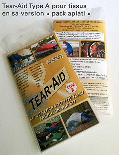 Tear-Aid Pack de réparation de Tissu Type A - Instantané, Permanent et Quasi-Invisible