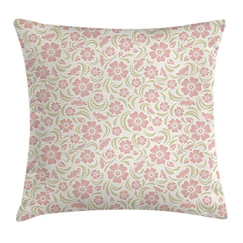 MSGDF Nature Throw Pillow Cushion Cover, Vintage Old Fashioned Floral Pattern Silhouettes Briar Shrubs Roses Retro Art, Decorative Square Accent Pillow Case, 18 X 18 inches, Pink and Green - Briar Rose Floral
