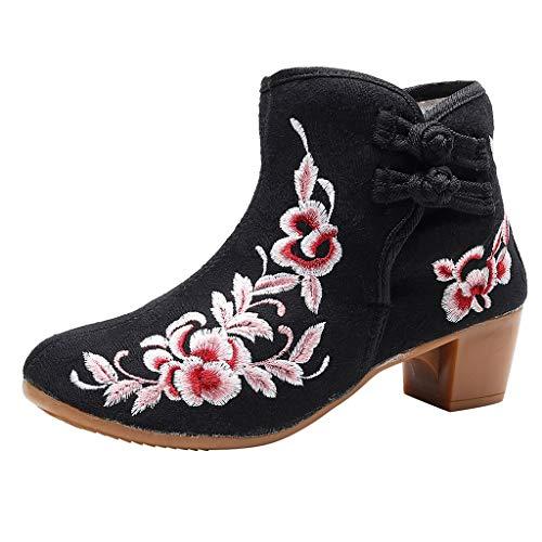 ➤Refill➤ Damen Stiefeletten Ankle Boots Chunkyrayan,Stickerei Kurzschaft Stiefel Spitz Zehen Blockabsatz Chelsea Boots mit Reißverschluss Winterschuhe Winterstiefel