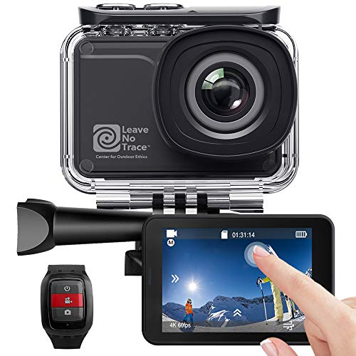 AKASO Action Cam 4K/60fps WiFi Sport Kamera 20MP, 39m Unterwasserkamera Touchscreen EIS einstellbar Blickwinkel Fernbedienung, Helmkamera mit 3 Batterien und Zubehör-Kits (V50 Pro SE)