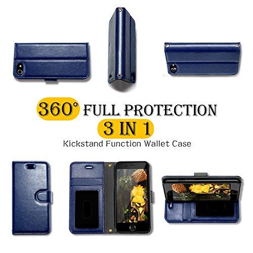 Custodia iPhone 8, Custodia iPhone 7, HUMIXX Custodia a Libro Flip Smart Magnetica Portafoglio Protettiva Case Cover In Pelle con Supporto Stand, Porta Carte, Chiusura Magnetica,Strap per iPhone 8 / i Blu