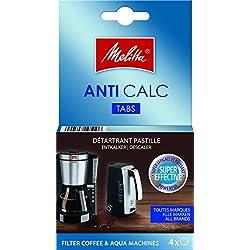 Melitta Détartrant en Tablettes, Pour Cafetières à Filtres et Bouilloires, 4 x 20 g