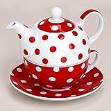 matches21 Tea For One Teekanne mit Tasse Teebecher und Untersetzer Teller Set rot gepunktet 15x14 cm aus Porzellan Geschenkset