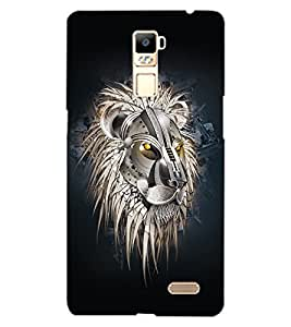 ColourCraft Lion Look Design Back Case Cover for OPPO R7