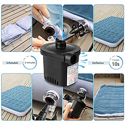 Deeplee Electric Air Pump, Quick-Fill Electric Rechargeable Inflator for Inflating/Deflating Inflatable Boat, Air Mattress, Inflated Toy, 3 Nozzle Included (USB Adapter:5V) 6