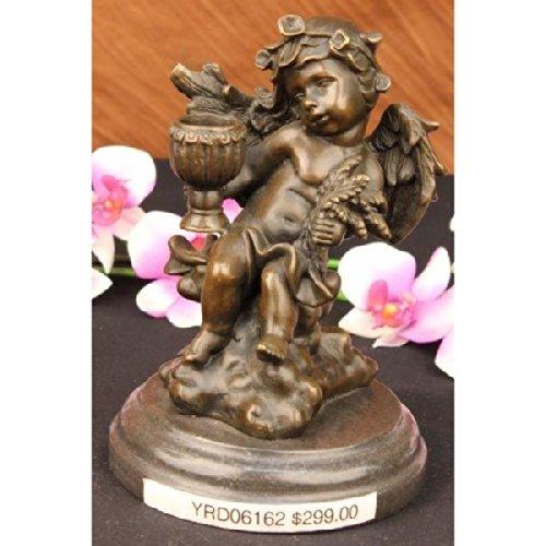 Statua di bronzo Scultura...Spedizione Gratuita...Cherubino Angelo W / fiori Candle Holder Marmo Arte(YRD-061-UK)Statue Figurine Figurine Nude per ufficio e casa Décor Primo Giorno Collezionismo Arti