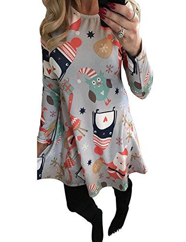 Mädchen Up Halloween Kostüme Retro Pin (Minetom Frauen Mädchen Weihnachten Kleid Santa Claus Print Swing Mini Kleid Stil 1)