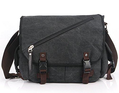Cooler Buckle Segeltuchtasche Herrentaschen Schultertaschen Messenger Bag schwarz