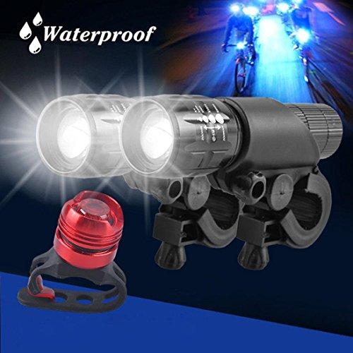 HCFKJ 2x Q5 LED Mountainbike Fahrrad Zyklus Kopf vorne + Al Legierung hinten Lichter