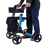 CHenXy Aluminiumlegierungs-Wanderer for die älteren Personen, behinderter einfacher Rollstuhl-Leichter justierbar mit Bremsgurtsitz Warenkorb medizinische Walker (Color : Blue) -