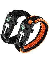 Zacro 2pcs Bracelets de Survie, Paracorde de Survie avec Boussole, Sifflet, Grattoir et Silex, Bracelet Multifonctions Largeur Réglable pour Extérieur, Randonneur, Baroudeur, Explorateurs (Noir et Orange)