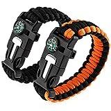 Best Paracord Bracelets - Zacro 2pcs Bracelets de Survie, Paracorde de Survie Review