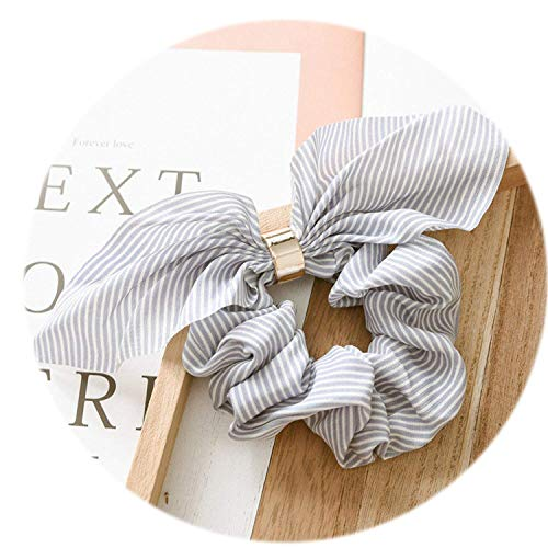 sses Women Ponytail Holder Striped Hair Scrunchies Bowknots Metal Holder Elastic hair Bands Girls Christmas Gift,light blue striped,Size fits all ()