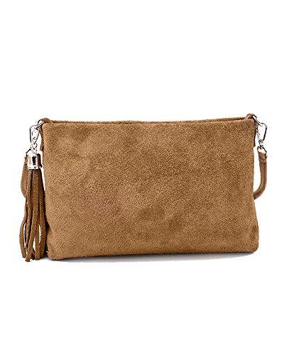 Ledertasche braun klein Lederhandtasche Umhängetasche Fransen echt Leder Tasche Wildleder Handtasche Damen 34-tau (Damen Leder Echt Wildleder)