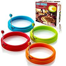 (Multicolor) - New Egg Ring, Silicone Egg Rings Non Stick, Egg Cooking Rings, Perfect Fried Egg Mould or Pancake Rings(4pcs)