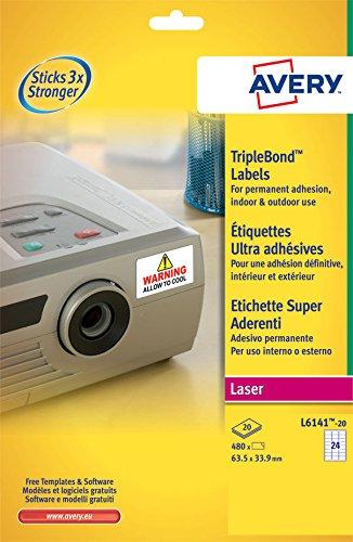 Avery 703642 Etichetta in Poliestere Super Aderenti per Stampante Laser