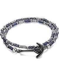 Italienisches Herren Armband aus Steinen in silber und blau. Marine Thema, mit Anker Anhänger. Luca Barra DBA862