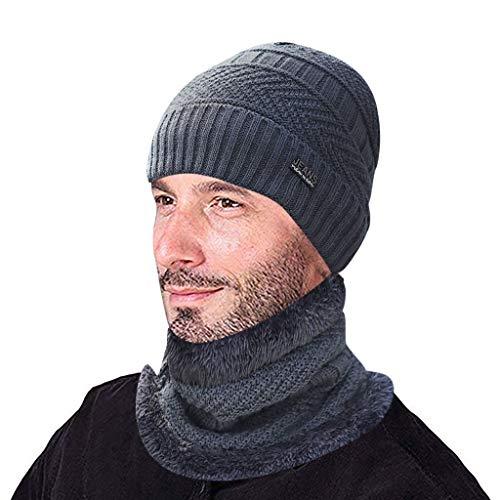 Azruma Winter Dicke Beanie Hut Schal Set Slouchy Warmen Schnee Knit Skull Cap Wintermütze Strickmütze Warme Beanie Winter Mütze und Schal mit Fleecefutter für Herren