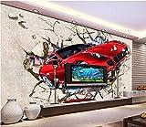 BZDHWWH 3D Papier Peint Photo Papier Peint Taille Personnalisée Murale Salon Voiture De Sport Rupture Peinture Murale Photo Canapé Tv Fond D'Écran,90 Cm×60 Cm