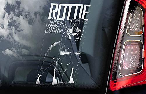 CELYCASY V03 Auto-Aufkleber Rottweiler on Board - Rottie Vorsicht vor dem Hund -