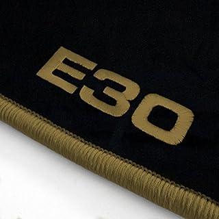 Autoteppich Stylers ATS-Q300_E30-308-011 Passform Velours-Fußmatten mit Bestickung E30 und Rand in Beige