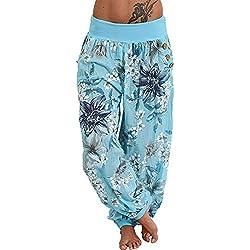 MORCHAN ❤ Femmes Pantalons décontractés Impression Large Jambe Bouton de Poche lâche Jeans Sarouel Combinaisons Collants Courts Pantalon Leggings Knickerbockers(M,Bleu Ciel)