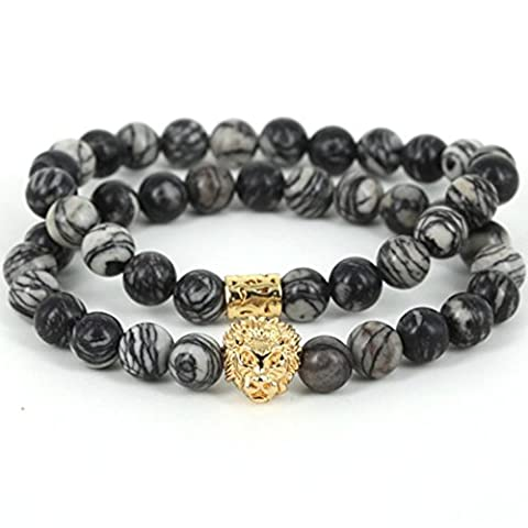 MESE London Stone Marble Beads Bracelet 18K Gold Plated Lion Head Wristbands Set - Elegant Gift Box