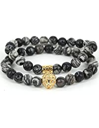 MESE London Stone Marble Beads Bracelet 18K Gold Plated Lion Head Set - Elegant Gift Box
