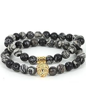 MESE London Stein Marmor Perlen Armband 18K Vergoldet Löwe Kopf Armbänder Set - Elegant Geschenkbox