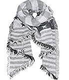 Caripe übergroßer XXL Damen Schal warm Winterschal Deckenschal meliert Karo - ni7 (Stern-Streifen - hellgrau - weiß)