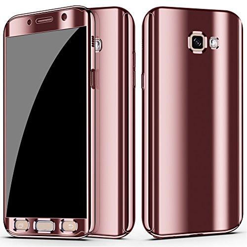 CXvwons Samsung Galaxy A5 2017 Hülle, 3 in 1 Ultra Dünner PC Harte Case 360 Grad Ganzkörper Schützend Handytasche Backcover Anti-Kratzer Anti-dropping Schutzhülle für Galaxy A5 2017 (Roségold)