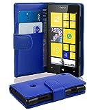 Cadorabo - Book Style Hülle für Nokia Lumia 520 - Case Cover Schutzhülle Etui Tasche mit Kartenfach in BRILLANT-BLAU