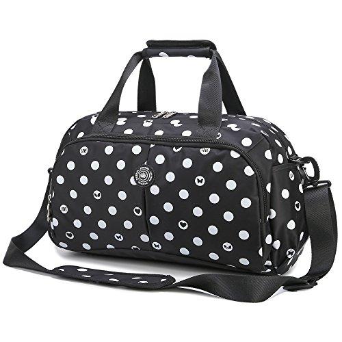 Frauen Nylon Crossbody Weekender Tote Reise Duffel Bag Umhängetasche Gepäck Gym Handtasche für Reisen | Urlaub weitermachen 20L Spots schwarz mit kostenlosem Geschenk (Digit Lock) (Weekender Cross Body)